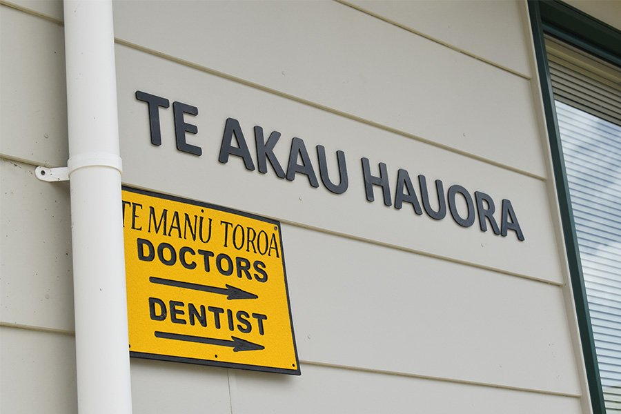 Te Akau Hauora GP Clinic entry sign